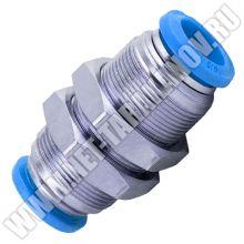 Латунный фитинг для соединения трубки ∅ 8 мм, прямой, пневматический.